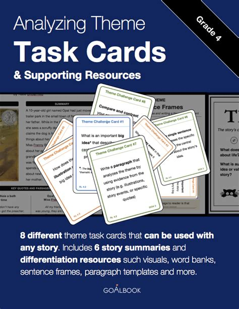 theme in literature songs literature and task cards rl 4 9 compare similar themes and topics reading