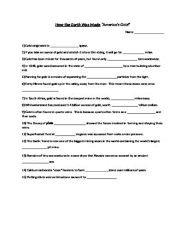 How The Earth Was Made Worksheet Answers by How The Earth Was Made America S Gold Worksheet By Chad