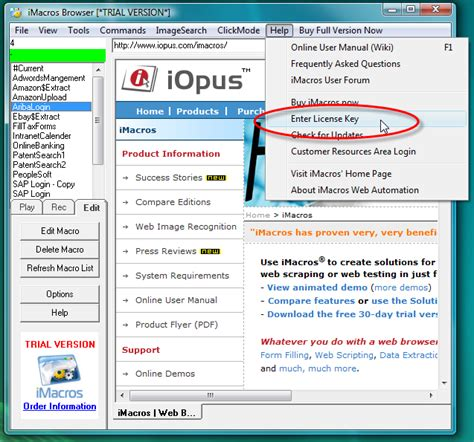 imacros scraping tutorial enter the license key imacros