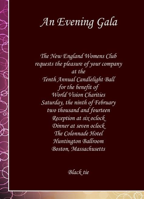 Gala Invitation Template Purplemoon Co Gala Event Planning Templates