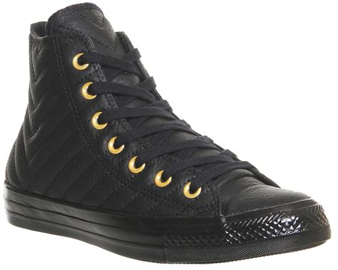 mens converse all hi leather black gold quilted