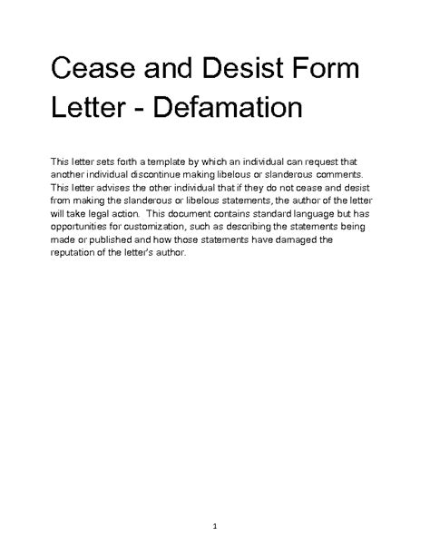 cease and desist letter template defamation cease and desist letter defamation template gallery templates design ideas