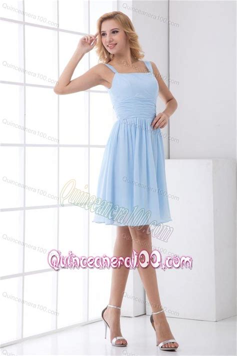 light blue knee length dress simple empire straps knee length chiffon light blue