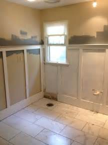 bathroom wainscoting ideas wainscoting during bathroom renovation my bathroom