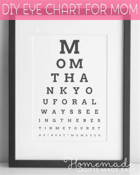 unique mothers day gifts diy eye chart personalized mothers day gift