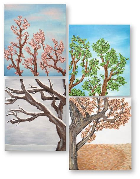 Painting 4 Seasons by Four Seasons Tree Wall Painting Set Four By