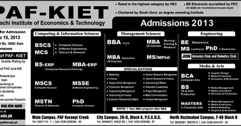 Mphil In Economics After Mba by Paf Kiet Admissions 2017 Bba Mba Bs Bscs Mcs Ms Mphil
