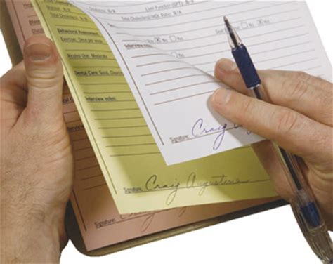 How To Make Carbon Copy Paper - this image shows the signing of a 3 part form wich