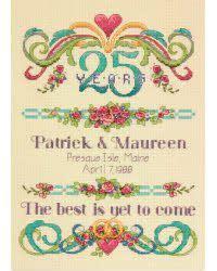 Wedding Anniversary Record by 50th Wedding Anniversary Gift Cross Stitch Gifts