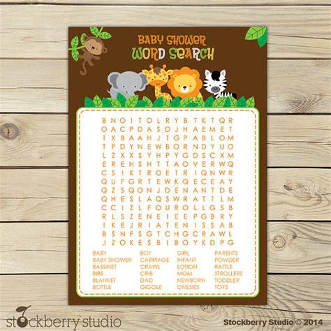 printable jungle word search safari animals baby shower word search game jungle baby