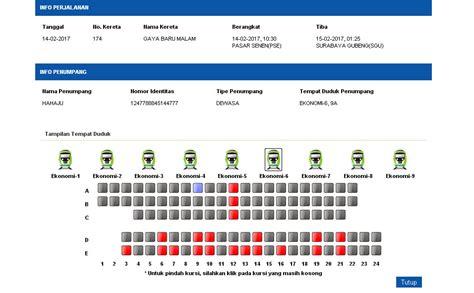 denah tempat duduk kereta api tawang jaya harga tiket ka gaya baru malam 2017 info mudik gratis