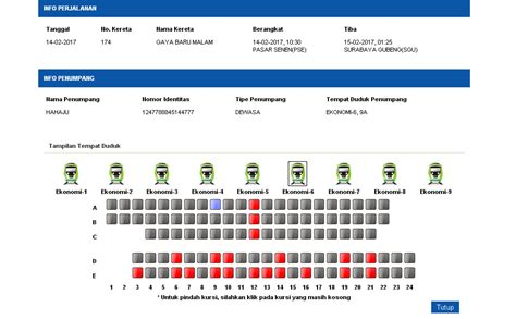 denah tempat duduk kereta api mutiara selatan harga tiket ka gaya baru malam 2017 info mudik gratis