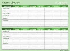 house chore schedule template chore schedule template