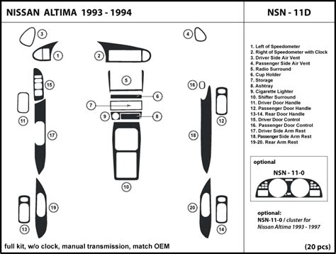buy car manuals 1993 nissan altima spare parts catalogs dash trim kit for altima 1993 1994 w o clock with manual transmission nsn 11d ebay