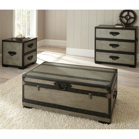 Coffee Table Fancy Black And Grey Wooden Trunk Coffee Living Room Trunk Table