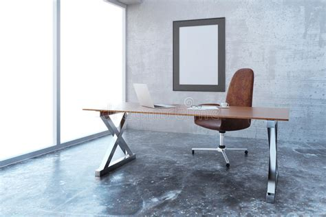 blank picture frame in modern loft style office with