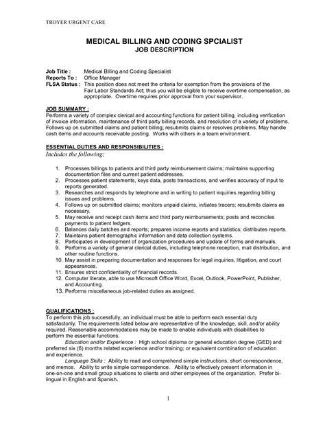 doc 644827 coder sle resume insurance biller description bizdoska