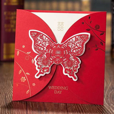 wedding invitation greeting cards luxurious laser cut embossed butterfly wedding invitation greeting card personalized printing
