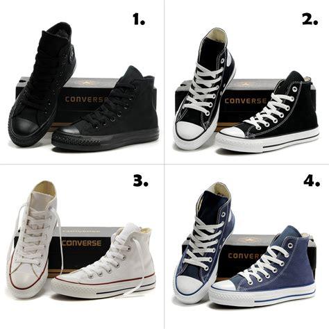 Sepatu Converse Kulit Hitam jual sepatu converse high 4 warna hitam hitam putih putih abu baru sepatu