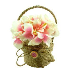 Baby Pinkis 2 Pot burlap pink flower pot 3 3 4in x 6in city