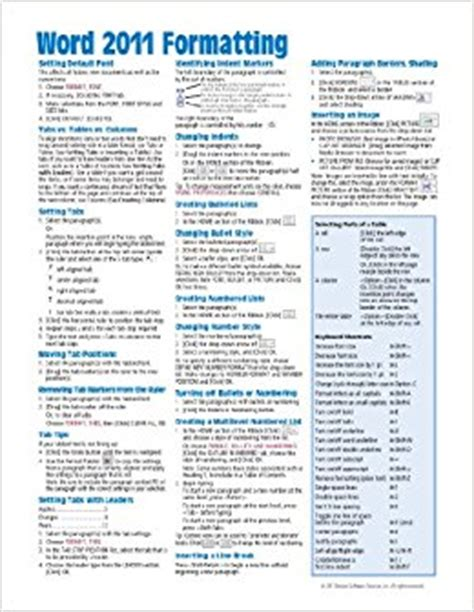 quick format html microsoft word 2010 formatting quick reference guide cheat