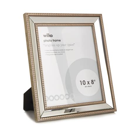 mirrored picture frames wilko beaded mirrored photo frame 8 x 10in at wilko
