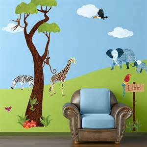 jungle tree and safari wall sticker decals for kids room pcs large nursery girls bedroom