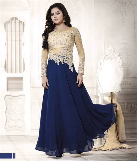 Bolly Top Navy 44 drashti dhami navy blue georgette suit 60073