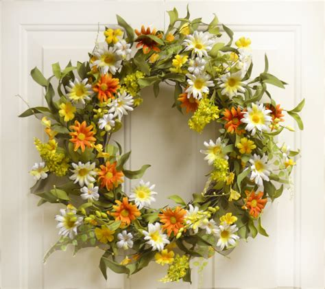 home floral decor interior decorating with spring wreaths silk flowers