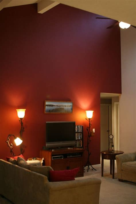 Living Room With Maroon Accents Figuring Out If A Burgundy Accent Wall On Cathedral