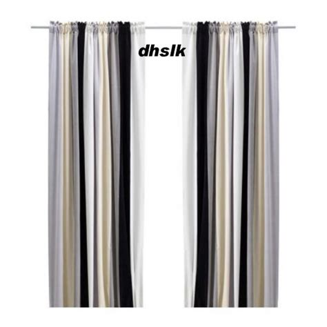 G1520 Setelan Am Stripe Black White ikea stockholm block curtains drapes stripe black gray