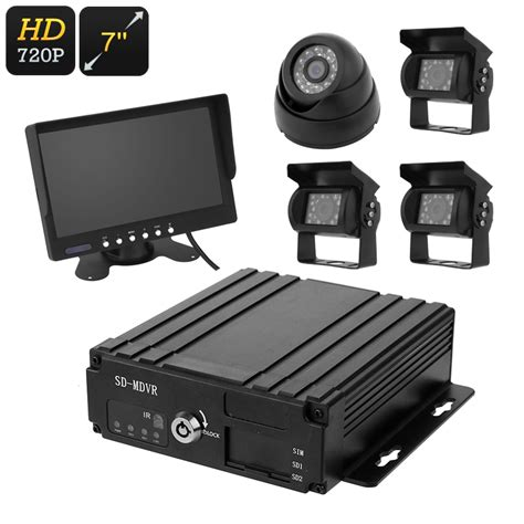 car dvr 4 channel car dvr 4x hd 7 inch display ip67