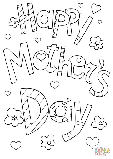 happy mothers day coloring page happy s day doodle coloring page free printable