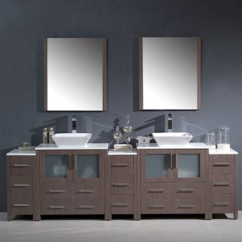 96 bathroom vanity fresca torino 96 inch modern bathroom vanity gray oak with vessel sinks