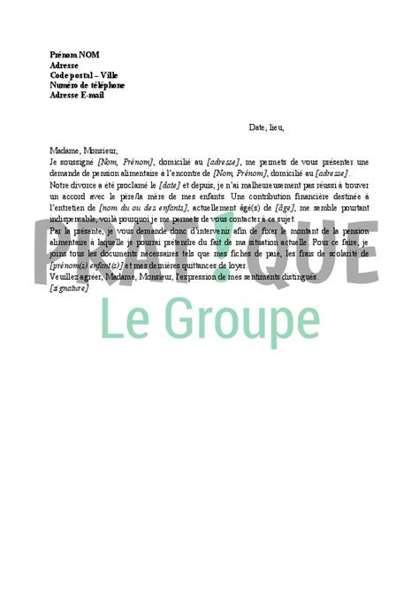 Exemple De Lettre Pour Un Juge Lettre Demande De Pension Alimentaire Au Juge Aux Affaires Familiales Pratique Fr