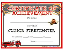 Blank Firefighter Card Template by Free Printable Junior Firefighter Award Certificate