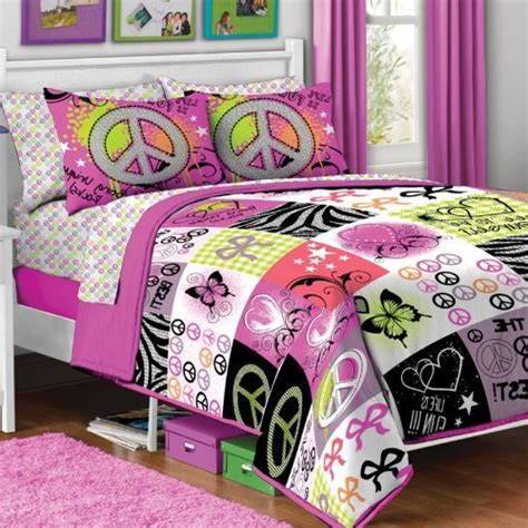 peace sign bedding 7pc girl pink yellow purple black heart love peace sign