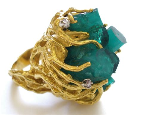 gold and emerald and ring c 1970