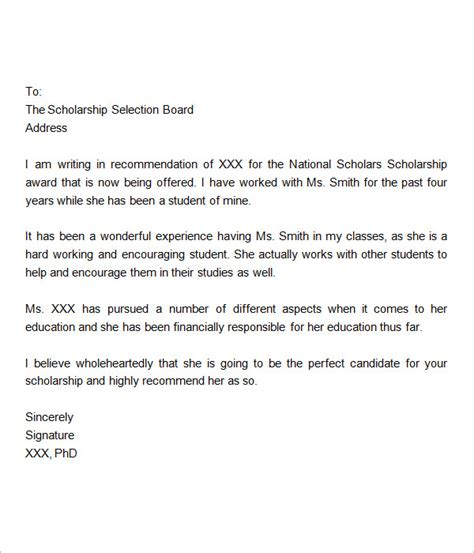 letter for scholarship exle sle letter of recommendation for scholarship 10 free