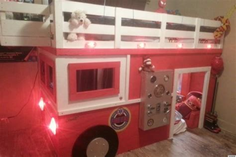 fire truck bed with slide firefighter dad builds realistic diy firetruck bed for his