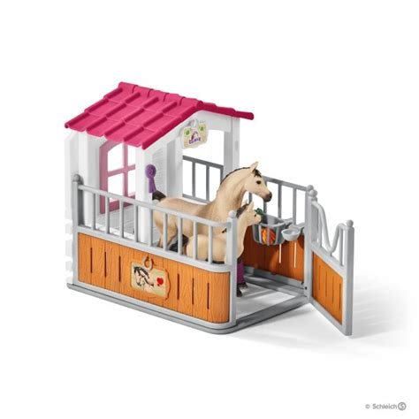 stall schleich stall with arab horses and groom 42369