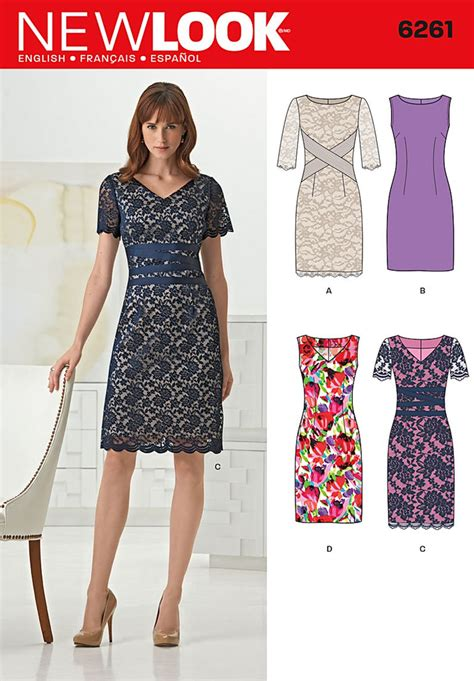 pattern new look new look 6261 misses dresses with neck line variations