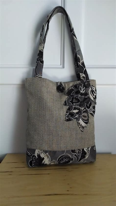 Tote Bag Handmade - black tote bag brown purse floral handbag travel tote book