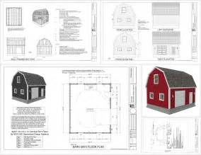 design blueprints g537 20 x 24 x 10 gambrel barn sds plans