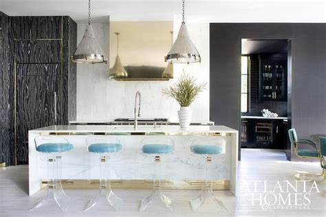 White Marble Kitchen Island White Marble Waterfall Kitchen Island With Lucite Barstools Contemporary Kitchen