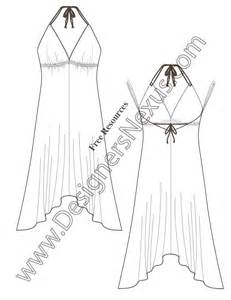 dress sketch template v54 handkerchief hem halter dress flat fashion sketch
