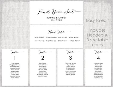 printable table planner wedding seating chart template black quot bombshell quot diy