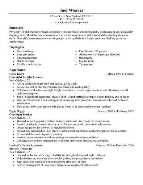 resume for overnight stocker best part time overnight freight associates resume exle livecareer