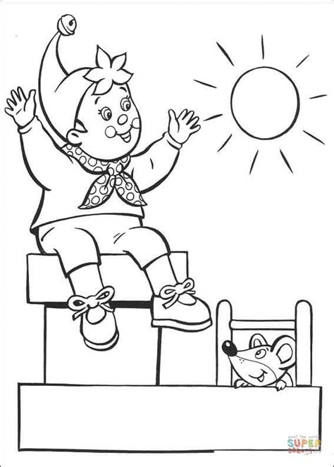 coloring page sunny day noddy enjoys the sunny day coloring page free printable