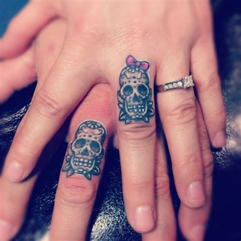his and hers skull tattoos his and hers sugar skull tattoos creativefan